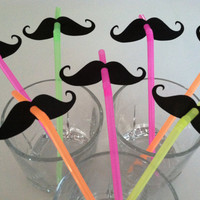 STACHE STRAWS (set of 10 in NEON)
