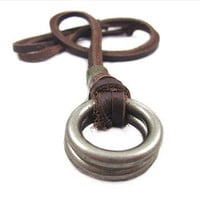 Jewelry leather necklace men necklace metal necklace chain necklace made of brown leather and alloy ring feather necklace XL0705
