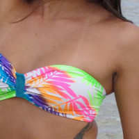Neon Rainbow Leaf Pattern Bandeau Bikini Top