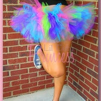 Katy - Neon Rave Purple, Lime, Pink & Aqua 80's Style Tutu - Birthday Tutu - Available in Infant, Toddler, Girls, Teenager and Adult Sizes