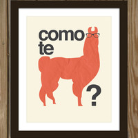Hipster Llama Quote Poster Print: Como te llama(s)