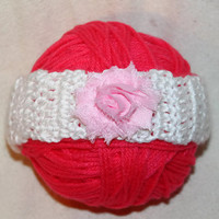 Newborn to 12 Months Pink Flower Valentine's Day Crochet Baby Toddler Kids Headband Infant Ear Warmer Photo Prop Baby Shower Birthday Girl