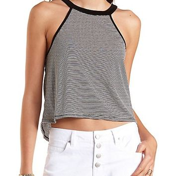 Racer Front Striped Swing Crop Top by Charlotte Russe - Black Combo