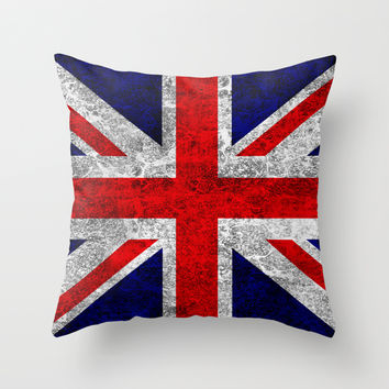 Union Jack Grunge Flag Throw Pillow by Alice Gosling