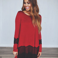 Red Tunic- Black Lace