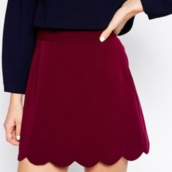 ASOS A Line Mini Skirt with Scallop Hem