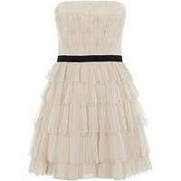 BCBG Rayna Strapless Pleated Dress