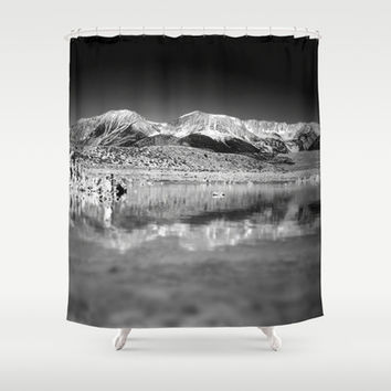Mono Lake Black and white Shower Curtain by Claude Gariepy