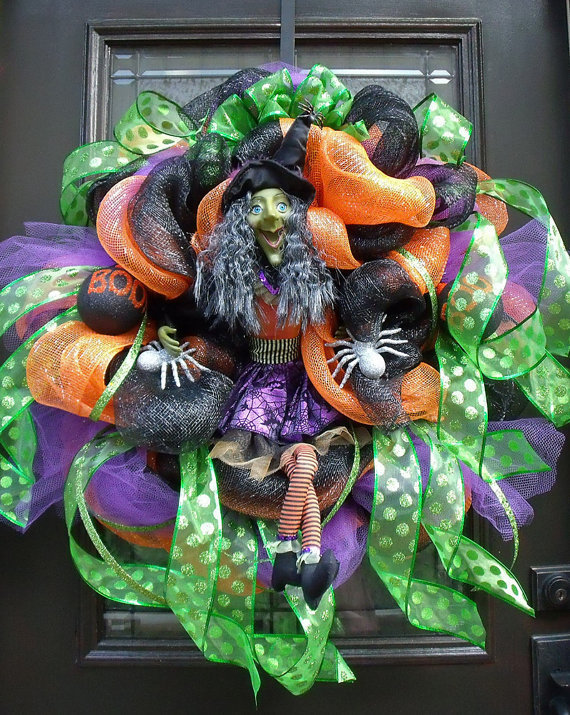 Halloween Wreaths, Deco Mesh Wreath, Witch Wreath, Fall Wreath, Halloween Door Decor