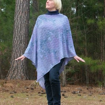 Lavender Orchid Teal Blue Lace Asymmetrical Poncho