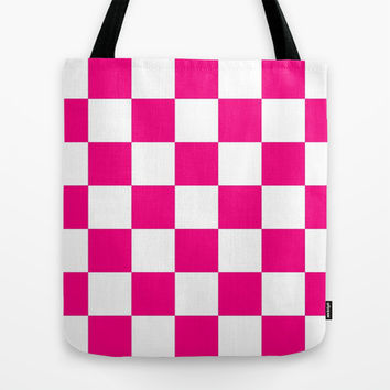 Pink And White Checkered Print Tote Bag by KCavender Designs