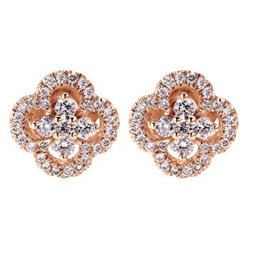 Rosey Clover Diamond Earrings Steven Singer Jewelers