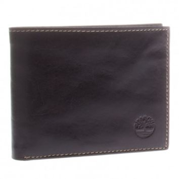 Timberland Brown Shiny Leather Bifold Fixed Passcase Wallet