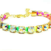Rainbow Neon AB Rhinestone Bracelet - Gold Plated Austrian Crystal Chain