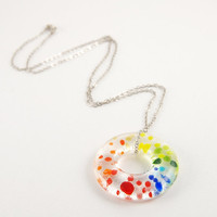 Rainbow dots Roy G Biv transparent fused glass donut ring necklace