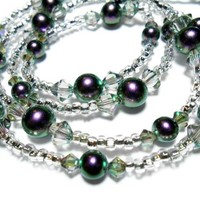 Pearl and Crystal Lanyard Necklace Iridescent Purple Breakaway Angel
