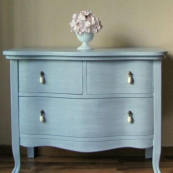 Painted Antique Grey Blue Dresser by AandGWit on Etsy