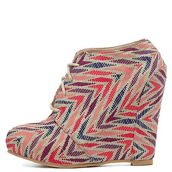 Qupid Printed Lace-Up Wedge Booties by Charlotte Russe - Beige