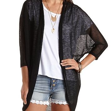 Chiffon & Sweater Knit Cocoon Cardigan by Charlotte Russe - Black