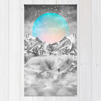 Put Your Thoughts To Sleep (Winter Moon / Wolf Spirit) Rug by Soaring Anchor Designs