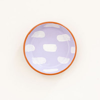 Hand painted terracotta ring dish - dashes on lavender