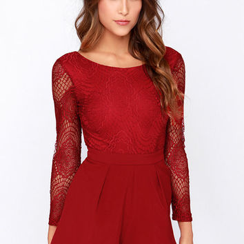 Tell Me Something Wine Red Lace Romper