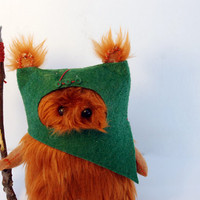 Star Wars Ewok Fur Ooak .12cm. Dark Green.