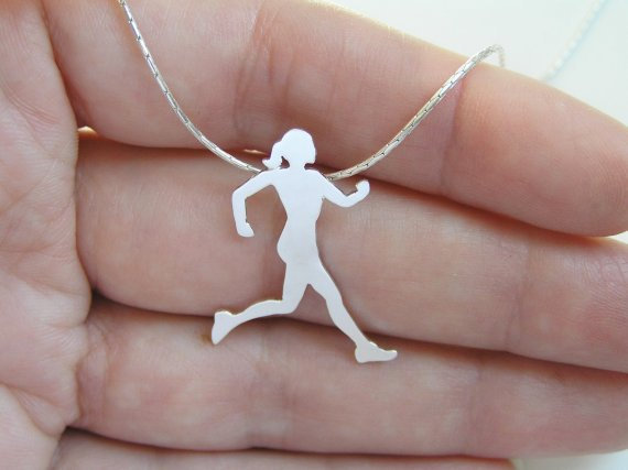 Silver Runner Necklace - Running Woman Silhouette Pendant - Hand Cut - Sport Jewelry