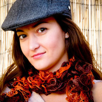 Boho Chic fall fashion ruffle scarf. Tangerine brown colors.  gift idea  avidteam