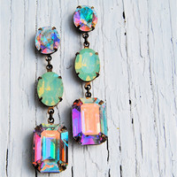 Aurora Borealis, Pacific Opal Vintage Swarovski Earrings, Nautical Earrings, Rhinestone Earrings - Jewelry by Mashugana
