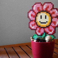 Smiling Daisy Super Mario Bros Inspired. Kawaii Cute Red & Pink Plastic Daisy with Colorful Plastic Pot