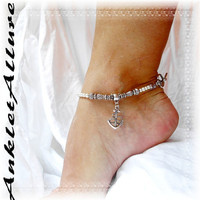 Sea n Sailor Anchor Charm Anklet Nautical Sailing Pearl Ankle Bracelet