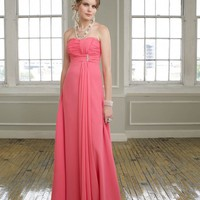 Elegant long Chiffon Strapless Bridesmaid Dress - Basadress.com