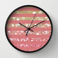 Champagne Tango Stripes Wall Clock by Lisa Argyropoulos