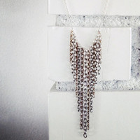Unchained - Mixed Metals Long Chain Layering Necklace, Waterfall Chain Necklace, Collar Necklace