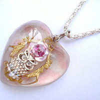 Owl Filigree Pink Rose Heart Resin Necklace