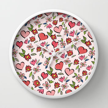 Love and Flowers - Pink Marsala Wall Clock by Lisa Argyropoulos