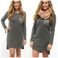 Get In Line Black & Grey Striped Pocket Dress