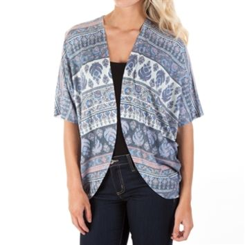 Timing Juniors Printed Open Front Drape Cardigan at Von Maur
