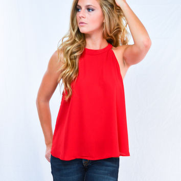 Cranberry Cropped Back Tank