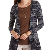 Paisley Cardigan with Lace Hem by Charlotte Russe - Navy Combo