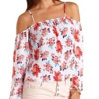 Floral Print Cold Shoulder Top by Charlotte Russe - White Combo