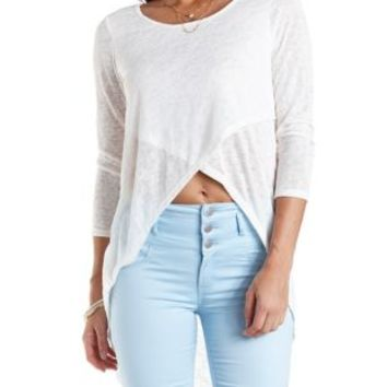 Sweater Knit Extreme High-Low Tee by Charlotte Russe - Ivory