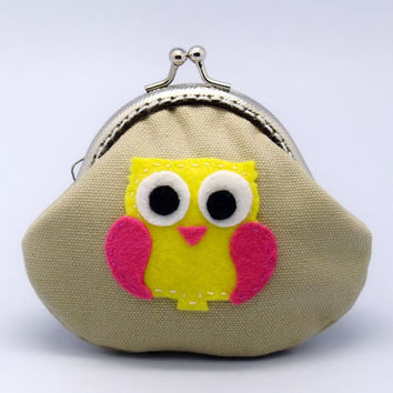 SALE - Hot pink and yellow owl - Small clutch / Coin purse (S-173) R1