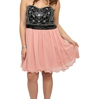 PLUS SIZE PROM DRESS WITH VINTAGE BEADED BODICE AND SOFT SKIRT