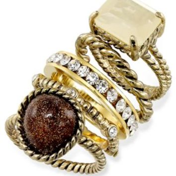 City by City Gold-Tone Crystal and Stone Stackable Ring Set | macys.com