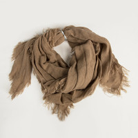Soft Fringe Adjustable Scarf - Taupe - Taupe / One