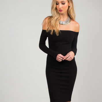 Off the Shoulder Bodycon Dress - Black /