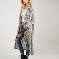 Draped Open Long Cardigan - Black/White /