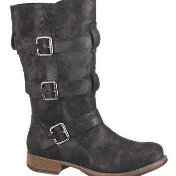 Black Cameron mid calf boot with buckles